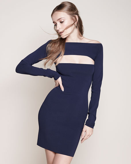 Image 2 of 3: Long-Sleeve Cutout Mini Dress, Marine