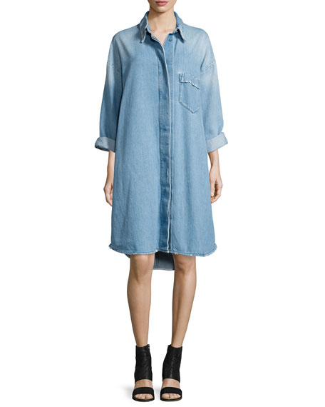 Denim Button-Up Shirtdress, Blue