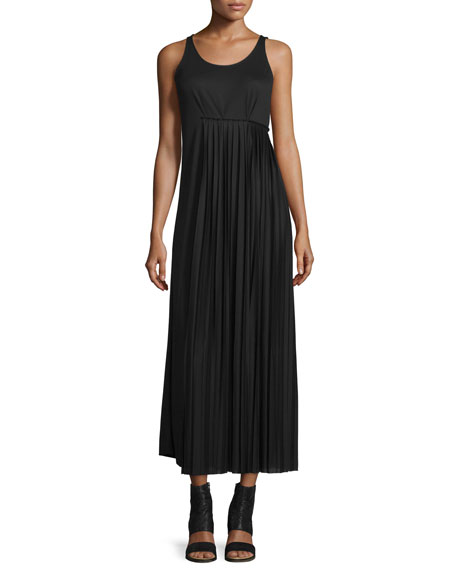 Maison Margiela Pleated-Side Maxi Dress, Black