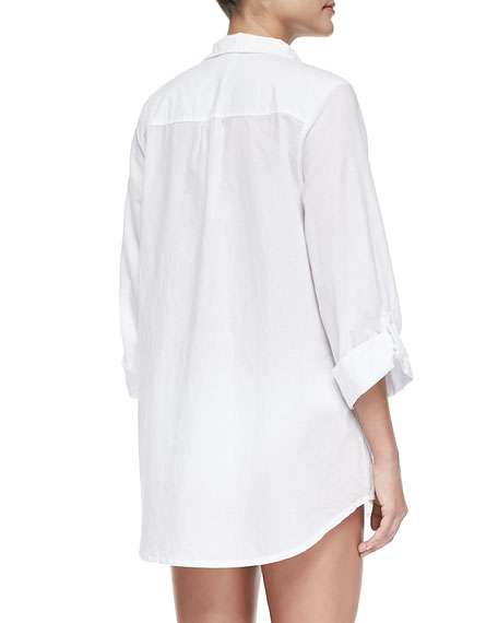 Notch-Collar Tunic with Button-Tab Sleeves