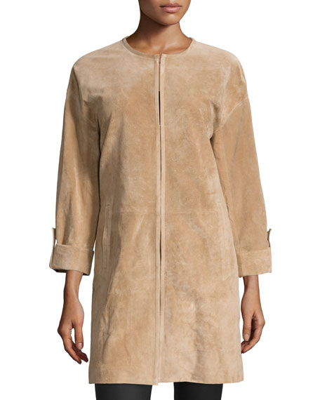 Neiman Marcus Zip-Front Rolled-Cuff Suede Topper Coat, Taupe