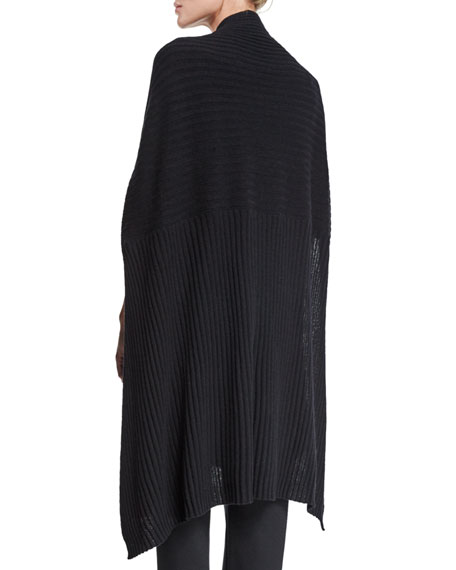 Ribbed Fine-Gauge Cashmere Wrap Poncho