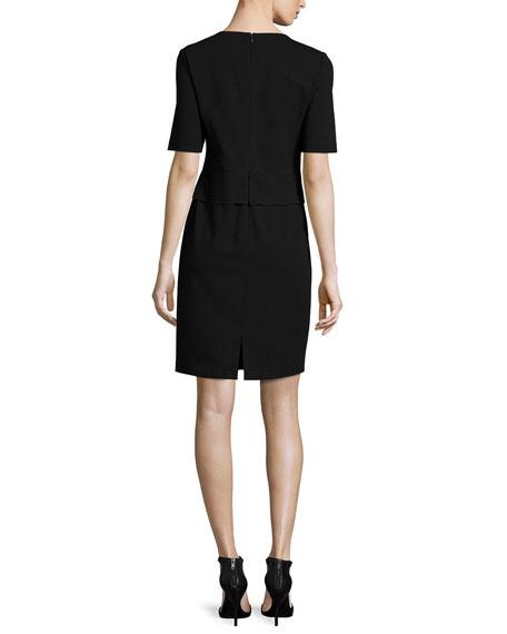 Half-Sleeve Waist-Paneled Dress