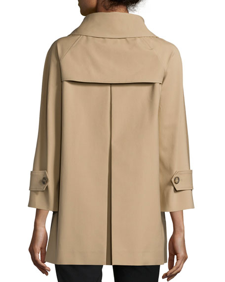 3/4-Sleeve Double-Breasted Peacoat, Fawn