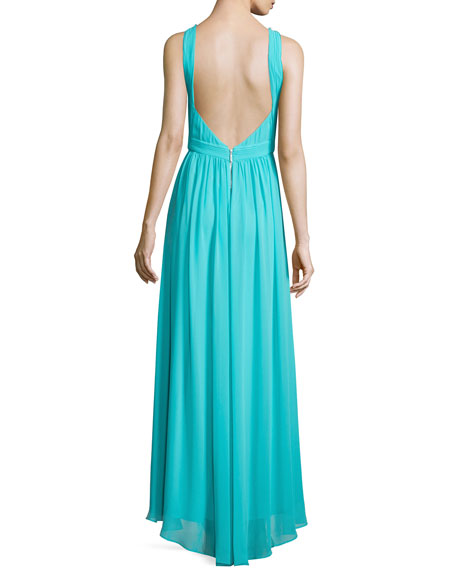 Sleeveless Embellished-Neck Gown, Turquoise Breeze