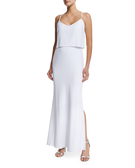 Laundry by Shelli Segal Sleeveless Popover Gown, Optic White