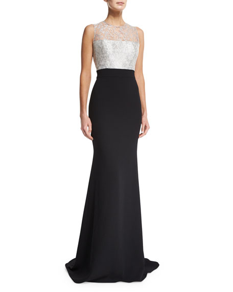 Carmen Marc Valvo Sleeveless Illusion-Bodice Combo Mermaid Gown