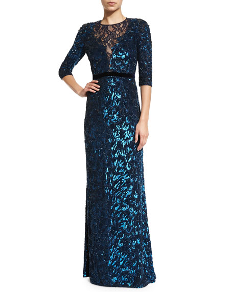 Jenny Packham3/4-Sleeve Sequined Gown, Petrol