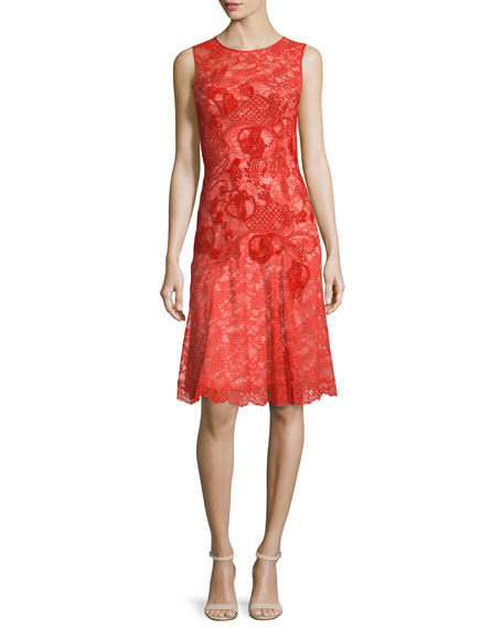 Jenny Packham Sleeveless Tonal-Applique Lace Dress, Pumpkin