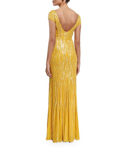 Cap-Sleeve Embellished Gown, Honey Bee