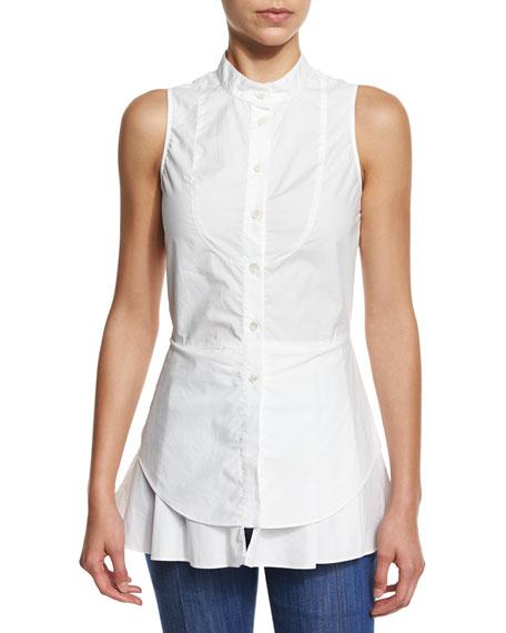 Derek Lam 10 Crosby Sleeveless Cotton Button-Front Shirt, Soft White