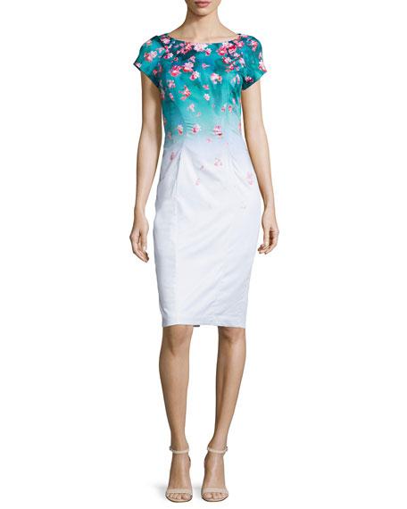 ZAC Zac Posen Carmen Floral-Print Ombre Dress, Fiji/Poppy/Multi