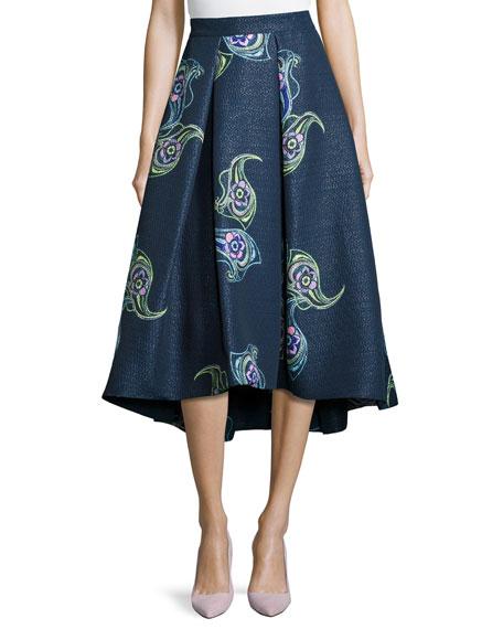 Floral-Print Tea-Length Skirt, Navy Multi