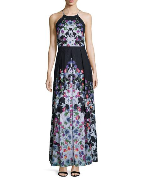 Phoebe Halter-Neck Floral-Print Maxi Dress, Black/White