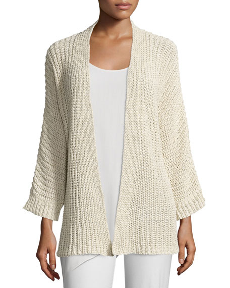 Eileen Fisher Ribbed Long Cardigan