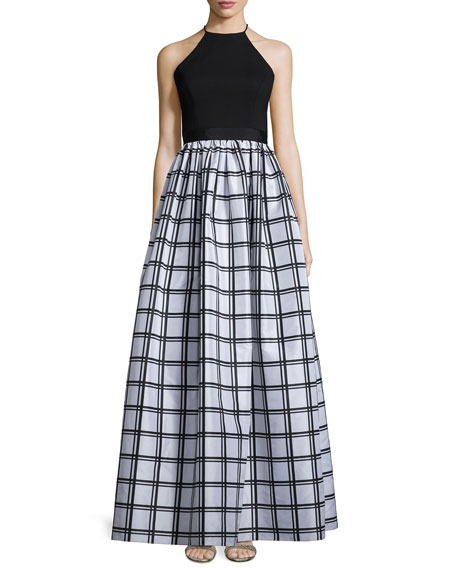 Aidan MattoxSleeveless Gingham Combo Gown, Black/Silver