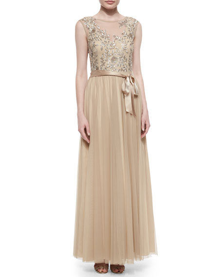 Embellished Tulle Cap-Sleeve Gown, Light Gold