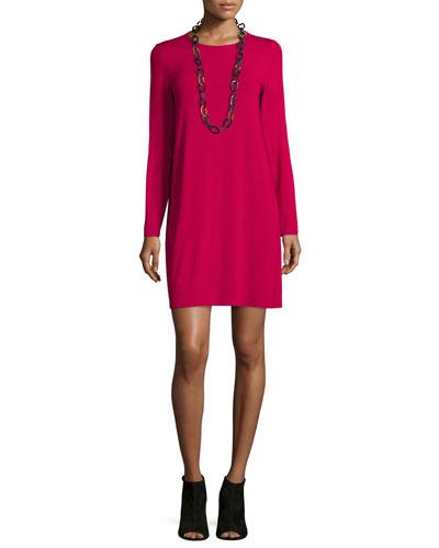 Long-Sleeve Button-Back Jersey Mini Dress, Petite