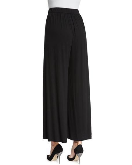 Eileen Fisher High-Waist Long Skirted Pants, Black