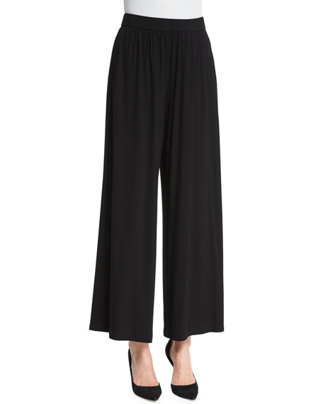 Eileen Fisher High-Waist Long Skirted Pants, Black