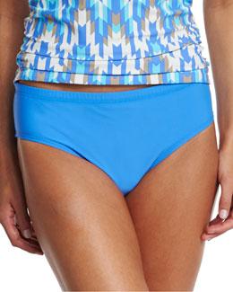 Cabana Solids Mid-Waist Swim Bottom