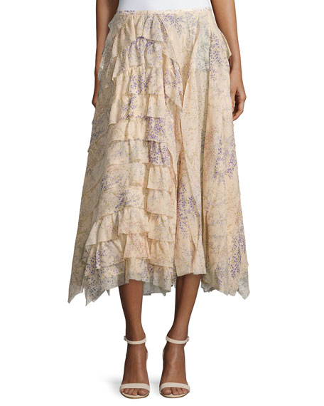 Michael Kors Collection Asymmetric Ruffle A-Line Skirt, Nude
