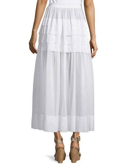 michael kors tiered cotton maxi skirt optic white