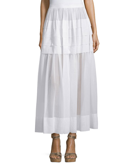 Michael Kors Tiered Cotton Maxi Skirt, Optic White