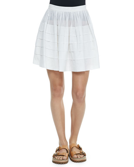 Michael Kors Collection Tiered Cotton Miniskirt, Optic White
