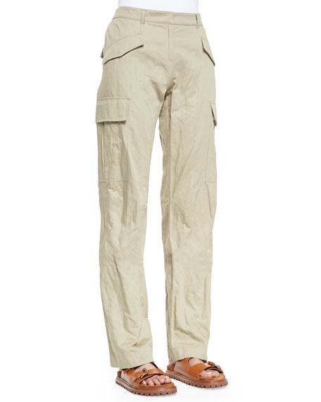Michael Kors Collection Straight-Leg Cargo Pants, Sand
