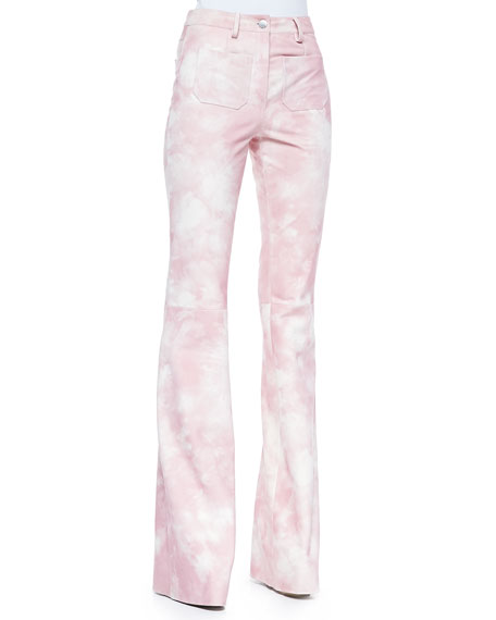 Michael Kors Collection Tie-Dye Leather Bell-Bottom Pants, Oleander