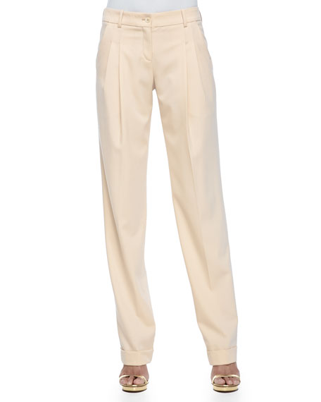 Michael Kors Collection Pleated Slouch Trousers, Nude