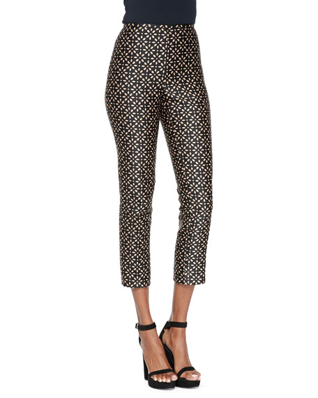 Michael Kors Collection Floral-Print Side-Zip Pants, Black/Suntan