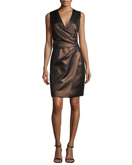 Sleeveless Metallic Faux-Wrap Dress, Bronze