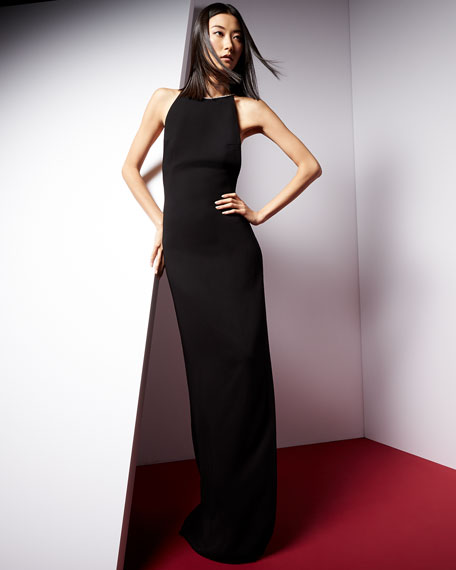 Rachel Zoe Sleeveless Halter Beaded-Neck Column Gown