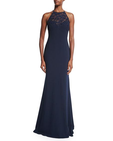 Badgley Mischka Halter Lace-Bodice Gown