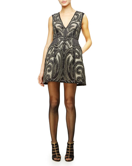 Alice + Olivia Pacey Sleeveless Patterned Cocktail Dress