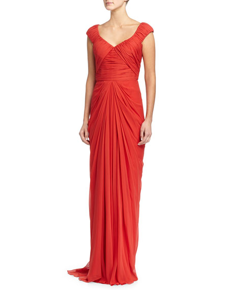J. Mendel Cap-Sleeve Pleated Gown, Rouge