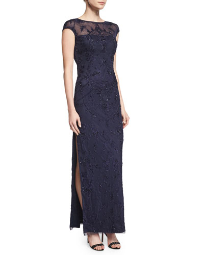 Cap-Sleeve Beaded Column Gown