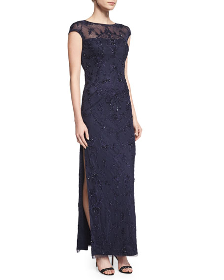 Aidan Mattox Cap-Sleeve Beaded Column Gown
