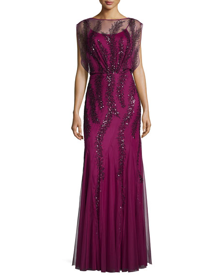 Aidan Mattox Cap-Sleeve Beaded Godet Gown