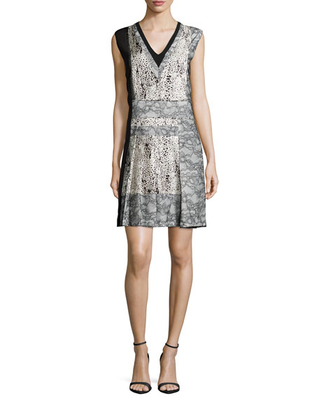 J. Mendel Sleeveless V-Neck Dress W/Lace Insets, Ecru/Noir
