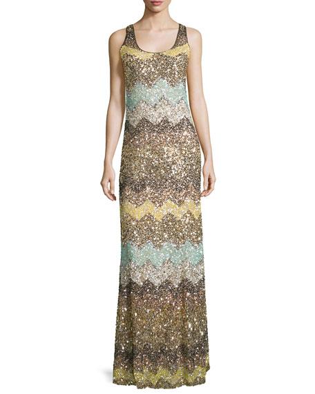 Calypso St. Barth Rotemi Embellished-Chevron Maxi Dress, Multi