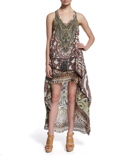 Embellished Racerback Coverup Dress, Gray