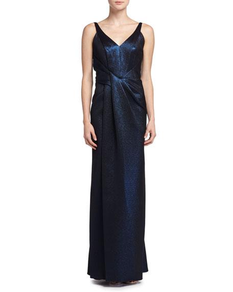 J. Mendel Sleeveless Metallic Gown, Ciel Gele (Dark BLue)