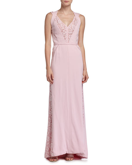 J. Mendel Sleeveless Lace-Inset Gown, Rose Clair