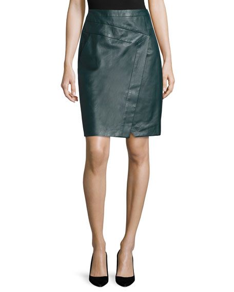 J. Mendel Faux-Wrap Leather Pencil Skirt, Midnight Forest