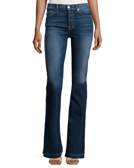 7 For All Mankind High-Waist Vintage Boot-Cut Jeans, La Palma Blue