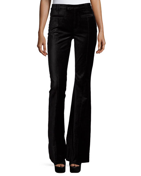 7 For All Mankind The Pintuck Flare-Leg Trousers, Black