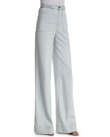 Alice + Olivia Juno High-Rise Wide-Leg Pants, Light